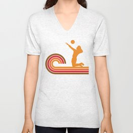 Retro Style Volleyball Player Silhouette Sports Unisex V-Neck