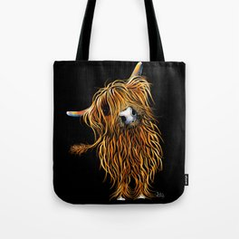HIGHLAND COW PRINTS of Original SCOTTISH Painting  'CoooWeee on BLaCK ' SHIRLEY MACARTHUR Tote Bag