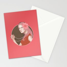 Girl Holding a Pearl Necklace Stationery Cards