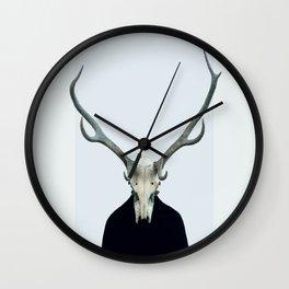 Living Skull and Horns Wall Clock