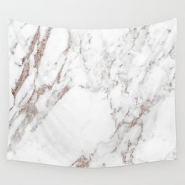 Rose gold shimmer vein marble Wall Tapestry