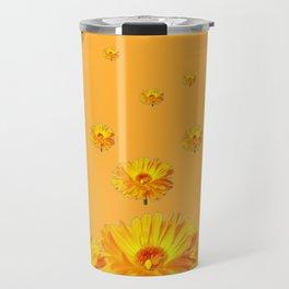 FLOATING GOLDEN FLOWERS  GREY COLLAGE Travel Mug