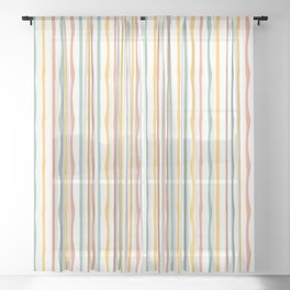 Stripes Stripped Pattern Muted Sheer Curtain