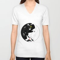 ying yang V-neck T-shirts featuring Ying & Yang by Kurew Kreations