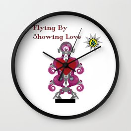 Flying By Showing Love Wall Clock