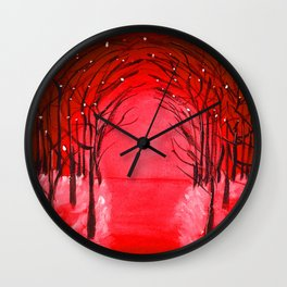 The Red Forest Painting Wall Clock