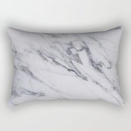 Marble - Black and White Gray Swirled Marble Design Rectangular Pillow