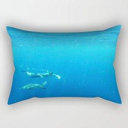 Diving in the deep blue Rectangular Pillow