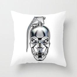 Skull grenade silver Throw Pillow