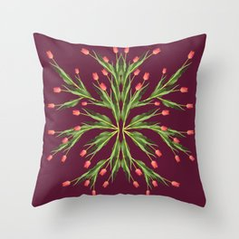 Burgundy and tulips Throw Pillow