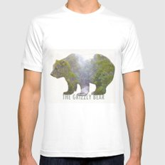 The Grizzly Bear MEDIUM White Mens Fitted Tee
