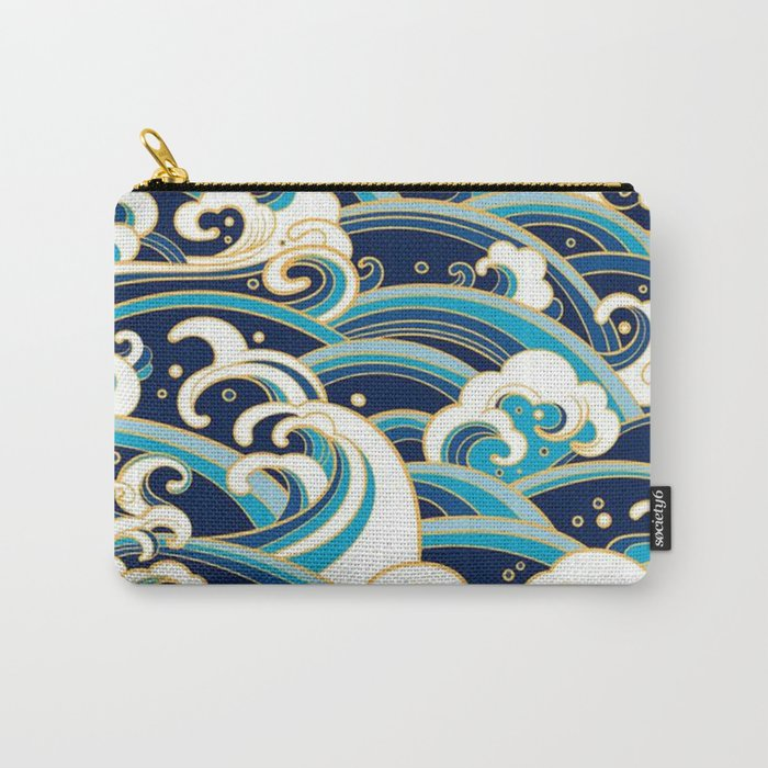 Japanese Wave Pattern Carry-All Pouch