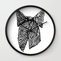 bow Wall Clocks featuring Bow by Samantha Turnbull