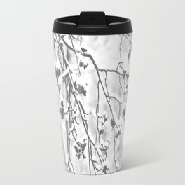 Cloudy Day In The Forest B&W Snowy Rowan Branches With Berries #decor #society6 #homedecor Travel Mug