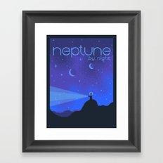 NEPTUNE Space Tourism Travel Poster Framed Art Print