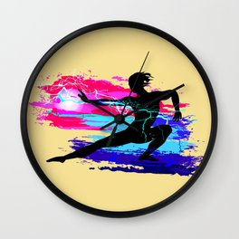 Martial arts, karate, yoga, aikido, judo, athlete Wall Clock