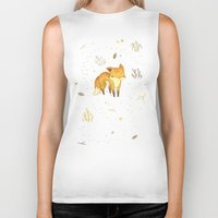 animals Biker Tanks featuring Lonely Winter Fox by Teagan White