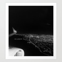 Chicago Skyline. Airplane. View From Plane. Chicago Nighttime. City Skyline. Jodilynpaintings Art Print
