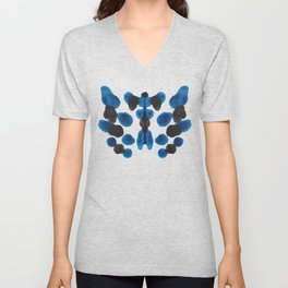 Blue Turquoise & Black Ink Blot Colorful Pattern Unisex V-Neck