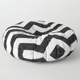 Marble Chevron Pattern 2 - Black and White Floor Pillow