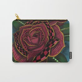 Zentangle Inspired Art- Tattoo Rose Colored Carry-All Pouch