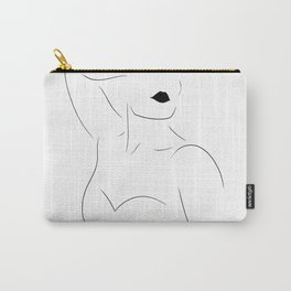 Feminine Female Figure Line Drawing (WHITE, 4 of 6) Bold Lips, Toned Upper Body Bone Structure Carry-All Pouch