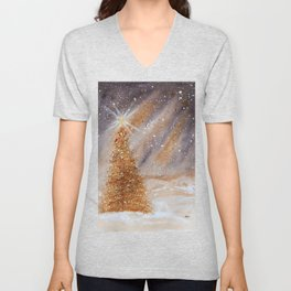 Magical Gold Christmas Tree in Snowy Night Watercolor Unisex V-Neck