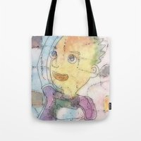 notebook Tote Bags featuring boy with notebook by Osome Beamer