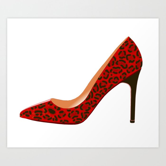 4fcf376fb11 Red Leopard Print High Heel Shoe Art Print by davidasmithart