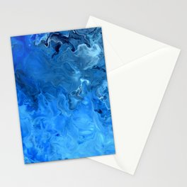 Blue Water Flow Acrylic Art Stationery Cards