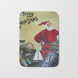 Santa in his Workshop Bath Mat