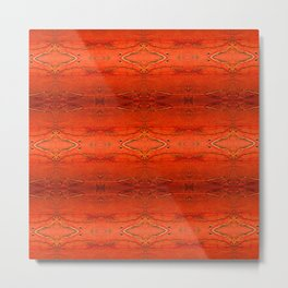 Rustic Orange Geometric Southwestern Pattern - Luxury - Comforter - Bedding - Throw Pillows - Rugs Metal Print