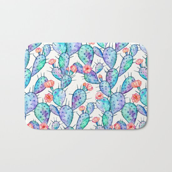 Rainbow Watercolor Cactus Pattern Bath Mat