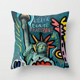 Liberté égalité fraternité Street Art French Graffiti Throw Pillow