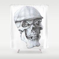 golf Shower Curtains featuring Golf Skull by Michael Hewitt