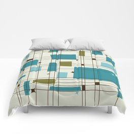 Mid-Century Modern (teal) Comforters