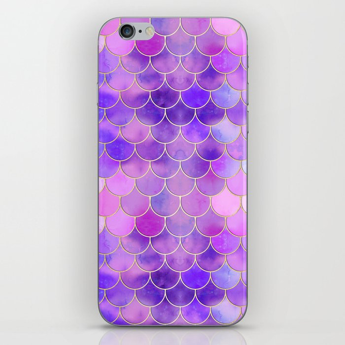 Ultra Violet & Gold Mermaid Scale Pattern iPhone Skin