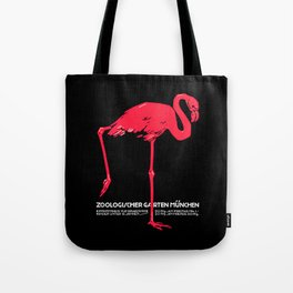 Vintage Pink flamingo Munich Zoo travel ad Tote Bag