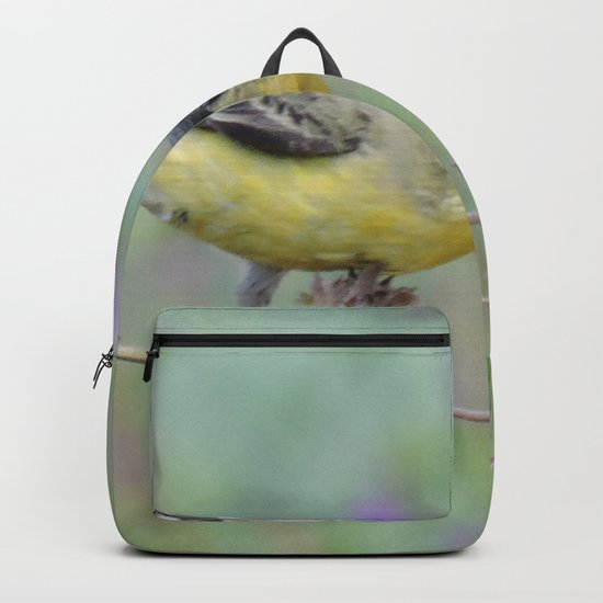 Lesser Goldfinch Snacks on Seeds Backpack