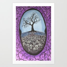 The Secret Dead Tree With White Roses Art Print