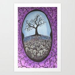 The Secret Dead Tree With White Roses Art Print
