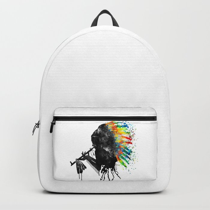 Indian Silhouette With Colorful Headdress Rucksack