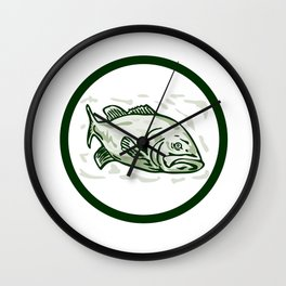 Largemouth Bass Fish Front Side Circle Cartoon Wall Clock