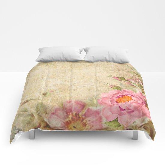 Vintage old love letter roses #10 Comforters
