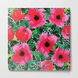 Watercolor Red and Pink Flowers Metal Print