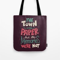 paper towns Tote Bags featuring Paper Towns: Town and Memories by Risa Rodil