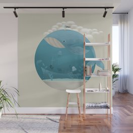Seagull rest over whale Wall Mural