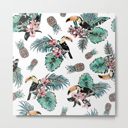 Tucan Tropical Pattern Metal Print