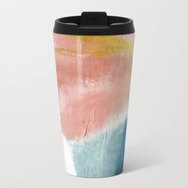Exhale: a pretty, minimal, acrylic piece in pinks, blues, and gold Travel Mug