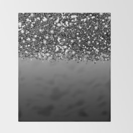 Black & Gunmetal Gray Silver Glitter Ombre Throw Blanket